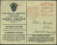 TSCHECHOSLOWAKEI 1932 (30.8.) AFS: PRAHA 5/HOLIDAY COURSES/ON ENGLISH UNIVERSITY SYSTEM/..VICTORIA COLLEGE , Dreisprachi - Languages
