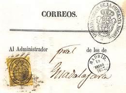 1857.- ED. 35 RECIBO DE LA ADMON DE LA IMPRENTA NCAL (MARCA EN NEGRO). FECHADOR ENSAYO DE MADRID 19 ENERO 1857. - Usados