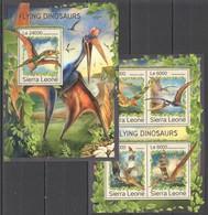 ST331 2016 SIERRA LEONE FAUNA PREHISTORIC FLYING DINOSAURS KB+BL MNH - Stamps