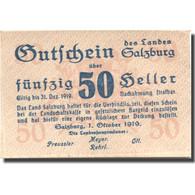 Billet, Autriche, Salzburg, 50 Heller, Valeur Faciale, 1919 SPL Mehl:FS860I - Austria