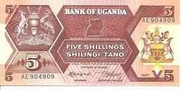 Uganda  P-27  5 Shilingi   1987  UNC - Uganda