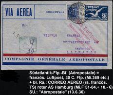 URUGUAY 1930 (13.6.) Vordr-Bf: COMPAGNIE GENERALE AEROPOSTALE = Französ. Fluggesellschaft , Flp.-Frankatur + Bl.Ra4: ... - Transport