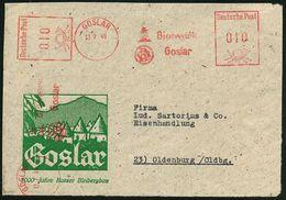 GOSLAR/ Bleiwerk/ Goslar 1949 (13.7.) AFS 010 + 010 Pf. (2 Abdrucke) Auf Reklame-Vs.: Goslar/ 1000 Jahre Harzer Bleiberg - Geologie