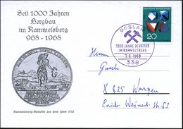 338 GOSLAR/ 1000 JAHRE BERGBAU/ IM RAMMELSBERG 1968 (7.6.) Viol. SSt  = 2 Bergbauhämmer (Rammelsberg-Medaille) EF 20 Pf. - Geologie