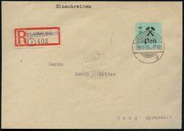 """GROSSRÄSCHEN/ A 1946 (14.2.) 1K-Gitter Auf EF Lokalausgabe 60 Pf. """"Bergbauhämmer"""", Grün + Alter RZ:  G R U B E   I L S E - Géologie"""