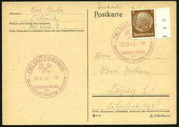 OELSNITZ (ERZGEB)/ Werbeschau/ Der/ GDS 1942 (20.9.) Seltener  R O T E R  SSt (Bergbauhämmer) Klar Gest. Inl.Kt. (Bo.4 R - Geologie