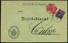 STUTTGART Nr.1 1923 (7.4.) 1K Auf Dienst 20 Mk. U. 100 Mk., Fern-Dienst-Bf: Württ. Bau- U. Bergdirektion  (Mi.D 72, D 74 - Géologie