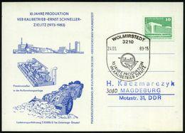 3210 WOLMIRSTEDT/ Kali/ 10 JAHRE PRODUKTION/ IM KALIBETRIEB ZIELITZ 1983 (24.6.) SSt (Logo) Klar Gest. Sonderkarte: Kali - Géologie
