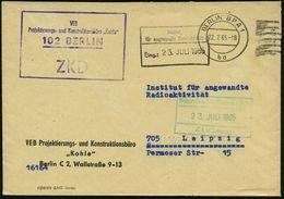 """102 BERLIN/ ZKD/ VEB/ Projektierungs-u.Konstruktionsbüro """"Kohle"""" 1965 (22.7.) Viol. ZKD-Ra.4 + 2K: BERLIN BPA 1/ba + Ein - Geologie"""