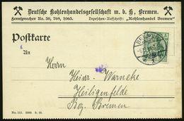 """Bremen 1911 (6.10.) 5 Pf. Germania Grün Mit Firmenlochung: """"D. K. / B."""" = D Eutsche Kohlenhandels-GmbH Bremen Auf Dekora - Géologie"""
