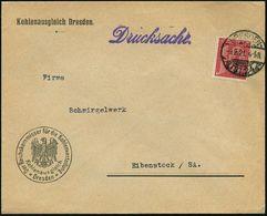 DRESDEN-/ ALTST.24/ G 1921 (9.2.) 1K-Gitter Auf EF 10 Pf. Dienst, Dienst-Bf.: Der Reichskommissar Für Die Kohlenverteilu - Géologie