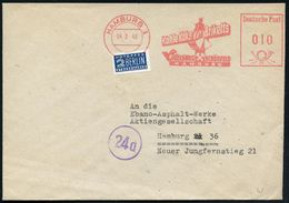 HAMBURG 1/ Kohle Koks Briketts/ VOGELSANG SCHÖNFELD 1949 (4.2.) AFS = Kohleverladekran, Rs. Motiv-ähnl. Abs.-Vordr. Auf  - Geologie