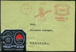 "KASSEL/ 1/ Mutters Lieblinge/ HASSIA 1933 (1.4.) AFS = Kind Mit ""Hassia""-Brikett + Silberne Reklame-Vignette: 60 JAHRE H - Geologie"