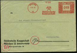 """MÜNCHEN/ 13/ Süddeutsche/ Knappschaft 1945 (5.11.) AFS """"Mäander-Rechteck"""" DEUTSCHES REICH Unverändert Weiterverwendet! , - Géologie"""
