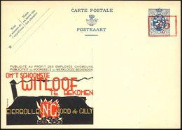 BELGIEN 1935 Seltene Reklame-P. 35 C./50 C. Wappenlöwe, Blau: ..EIERBOLLEN NORD De GILLY (= Eierbriketts, Flammen, Schor - Géologie