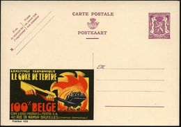 BELGIEN 1938 40 C. Reklame-P. Löwe, Br.-lila: CHAUFFAGE ECONOMIQUE/LE COCE DE TERTRE.. = Hand Mit Kohlenschaufel (u. Feu - Geologie