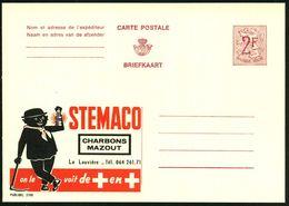 BELGIEN 1959 2 F. Reklame-P., Weinrot: STEMACO CHARBONS MAZOUT.. = Kohle-Bergmann Mit Spitzhacke (Helm U. Grubenlampe) U - Geologie