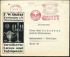 ESSLINGEN/ (NECKAR)/ 1/ QUIST 1934 (18.8.) AFS = Stern (Logo) Auf Dekorat. Reklame-Bf.: Versilberte Luxus-Tafelgeräte (m - Geologie