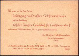 """HANAU/ Einweihung Des/ Deutsches Goldschmiedehauses.. 1942 (18.10.) SSt (Stadtwappen) Auf Sonder-P 6 Pf.+ 4 Pf. """"Deutsch - Géologie"""