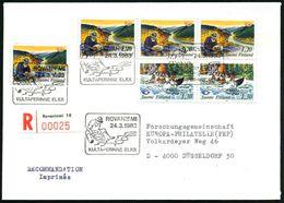 FINNLAND 1983 (24.3.) 1,20 Mk. Goldwäscher (4x) + Bildgl. SSt: ROVANIEMI/KULTPERINNE ELÄÄ = Goldwäscher + 2x 1,30 Mk Flu - Géologie