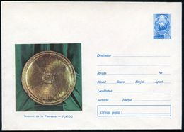 RUMÄNIEN 1973 55 B. Bild-U. Staatswappen, Blau: Museum Von Pietroasa, 5 Verschiedene Bilder: Gold-Teller, Gold-Kanne, Pa - Géologie