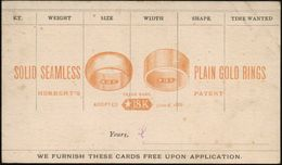 U.S.A. 1886 Amtl. Inl.-P 1 C. Jefferson, Schw. + Orange Reklame-Zudruck: ..PLAIN GOLD RINGS/TRADE MARK/* 18 K.. (= The N - Geologie