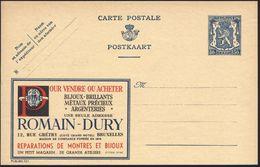 BELGIEN 1941 Reklame-P 50 C. Löwe, Blau: ..BIJOUX-BRILLANTES/METAUX PRECIEUX/ARGENTERIES/..ROMAIN-DURY (= Brillant) Unge - Géologie