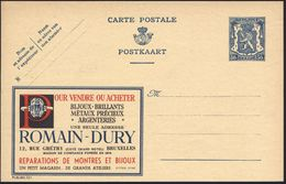 BELGIEN 1941 Reklame-P 50 C. Löwe, Blau: ..BIJOUX-BRILLANTES/METAUX PRECIEUX/ARGENTERIES/..ROMAIN-DURY (= Brillant) Unge - Geologie