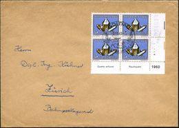 SCHWEIZ 1960 (17.9.) 5 C.+ 5 C. Rauchquarzstufe: Bogen-Eckrand-6er-Bl. + Inschriften, Jahreszahl , Ausl.-Bf.  (Mi.714 Me - Geologie