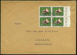 SCHWEIZ 1960 (1.11.) 10 C.+ 10 C. Kalifeldspat, Reine MeF: Rand-4er-Bl. M.Inschrift U. Datum/Farbrand , Klar Gest. Inl.- - Géologie