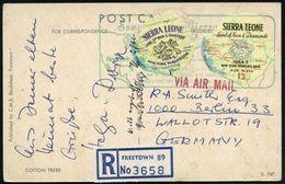 """SIERRA LEONE 1964 1 Sh. U. 1,3 Sh. Selbstklebemarken In Landesform """"Land Of Jron & Diamonds"""" ,satzreine Frankatur + Grün - Geologie"""