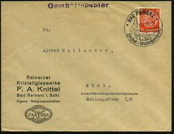 BAD REINERZ/ Herzbad Wintersportplatz 1938 (27.10.) HWSt = Geysir Auf Reklame-Bf.: Reinerzer Kristallglaswerke, F. A. Ki - Vulkane