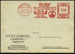 HAMBURG/ 1/ Otto Sörgel/ ..Eisenwaren../ VESUV EMAILLE.. 1939 (21.4.) Dekorat. AFS (teils Sütterlin) = Vesuv-Ausbruch Et - Vulkane