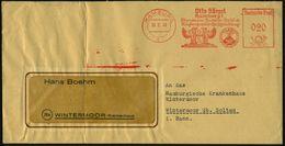 HAMBURG/ 1/ Otto Sörgel/ ..VESUV EMAILLE 1949 (30.5.) Dekorativer AFS = Ausbrechender Vesuv (u. Flügel-Logo) Gefalteter  - Vulkane