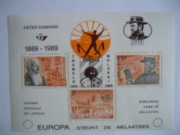 België Belgique 1989 Privé Pater Père Damien Tremelo Blok 35 Overdrukt Feuillet 35 Surchargé PR163 MNH ** - Belgique