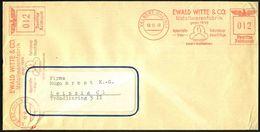 VELBERT (RHEINL)/ EWALD WITTE & CO/ Metallwarenfabrik.. 1940 (10.10.) AFS 012 Pf. + 012 Pf. = 2 Abdrucke (Logo: Ausbrech - Vulkane
