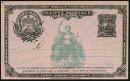 "EL SALVADOR 1891 3 C. Ausl.-P. Liberty + Vulkan ""San Miguel"" Schw./rosa: San Miguel-Vulkan Als Wertstempel Und Links (u. - Vulkane"