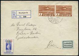"""ISLAND 1949 (19.4.) 1 Kr. """"Ausbruch Des Vulkans HEKLA"""", Reine MeF: 2 Stück , 2K-Gitter + Blauer RZ: Reykjavik, Sauber Ge - Vulkane"""