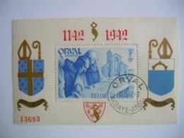 België Belgique 1942 Abdij Orval Abbaye D'Orval Dentelée Getand Opdruk Surchargée BL20 567A O - Blocks & Sheetlets 1924-1960