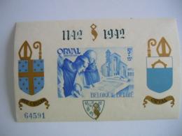 België Belgique 1942 Abdij Orval Abbaye D'Orval Non-dentelée Ongetand Opdruk Surchargée BL21 567B MNH ** - Blocks & Sheetlets 1924-1960