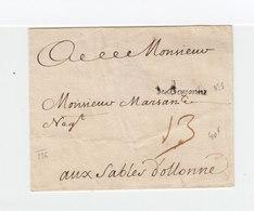 Sur Partie De Lettre Marque Linéaire Cursive De Bayonne Vers Les Sables D'Olonne. Taxe Manuscrite. (2259x) - ....-1700: Précurseurs