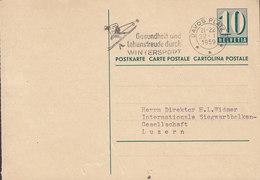 Switzerland Postal Stationery Ganzsache 10c. Ziffer Slogan Flamme ' Skiing Wintersport' DAVOS PLATZ 1959 LUZERN - Ganzsachen