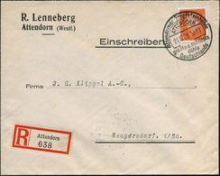 ATTENDORN/ Attendorner Tropfsteinhöhle/ Größte U.schönste/ Höhle/ Deutschlands 1929 (21.12.) HWSt Klar Auf EF 45 Pf. Ebe - Géologie