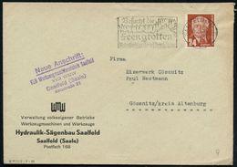 SAALFELD (SAALE)/ 1g/ Besucht Die/ Feengrotten/ Naturfarbige Tropfsteinhöhlen 1954 (2.8.) Dekorat. MWSt = Tropfsteinhöhl - Geologie