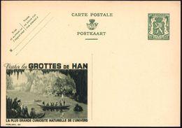 BELGIEN 1935 35 C. Reklame-P. Wappenlöwe, Grün: Visitez Les GROTTES DE HAN.. = Tropfsteinhöhle (u. See Mit Ruderbooten,  - Geologie