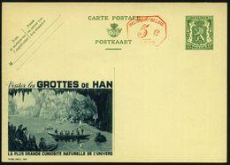 BELGIEN 1938 35 C. + 5 C.PFS Aufgewertere Reklame-BiP Löwe, Grün: Visitez Les GROTTES DE HAN.. = Tropfsteinhöhle (u. Rud - Geologie