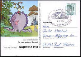 55116 MAINZ 1/ Tag Der Umwelt.. 1994 (2.9.) SSt = Tyrannosaurus (vor Globus) Auf PP 80 Pf. Zeche Zollern: Dino U. Philra - Géologie