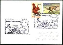 "RUMÄNIEN 1995 (20.1.) SSt.: 78200 BUCURESTI 2/MUZEUL GEOLOGIL/EXPOZITIA/""KOKORO DINOSAURS"".. = 3 Saurier (= Geolog. Muse - Géologie"