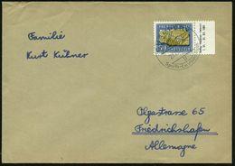 SCHWEIZ 1961 (Aug.) 50 C. + 10 C. Versteinerter  F A R N  , EF, Randstück + Randinschrift , Klar Gest. Ausl.-Bf.  (Mi.73 - Géologie