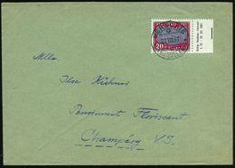SCHWEIZ 1961 (21.8.) 20 C. + 10 C. Tertiär-Knochenfisch, EF, Randstück Mit Randinschrift , Klar Gest. Inl-Bf (Mi.733 EF) - Geologie